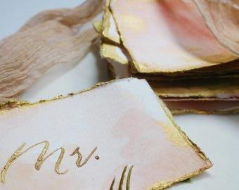 Wedding Place Cards Watercolor Saffron & Gold-Trimmed