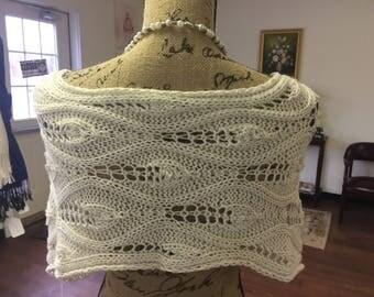 Romantic silk bamboo shawl, soft shawl, pearl knitted shawl, beautiful shawl, wedding shawl