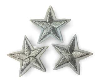 3 Stern Bügelbilder, silber Patches, ca. 40mm Sternchen
