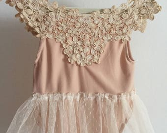 Annalise peach and vintage lace newborn baby romper photography props vintage organic handmade baby and sitter clothes