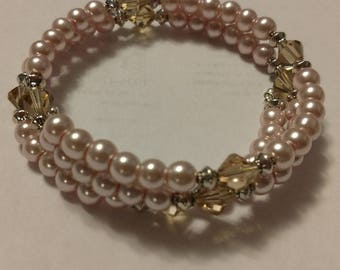 Crystal, Glass and Silver Memory Wire Bracelet