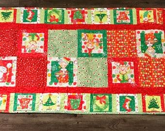Elf & Santa Quilt Table Runner
