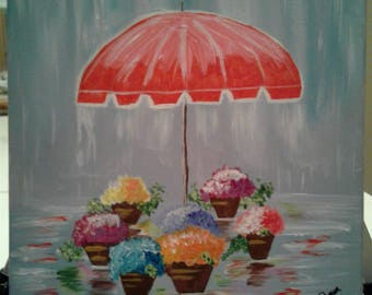 April Showers Umbrella Flower Acrylic  Painting on Gallery Canvas