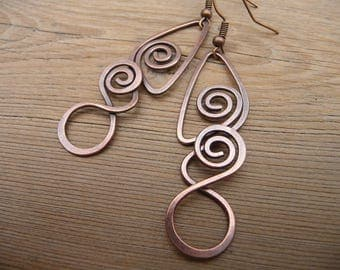 wire wrapped earrings, spiral earrings, gift women, copper wire jewelry women's accessory gifts wire wrap jewelry handmade one of a kind for