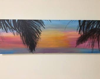 Acrylic Summer Breeze Sunset Painting on Canvas - Beach and Palm Tree Silhouette - 36 x 12 -