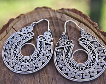 Silver plated earrings. Filigree. Tribal jewelry. Gypsy. Ethnic style