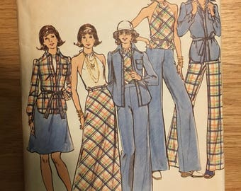 Vintage Butterick Pattern 3640, Shirt-Top-Skirt-Pants, size 12, 1970s