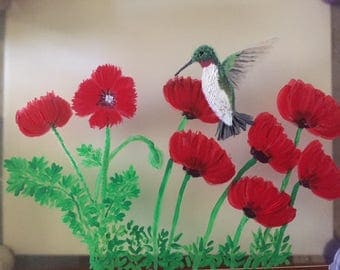 Humming Bird with Poppies