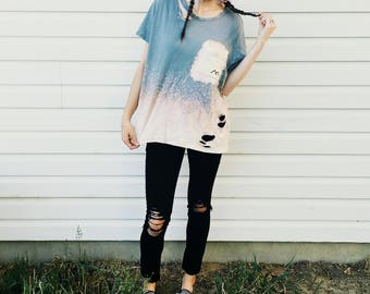 Bleached Ripped Gray Grunge Shirt