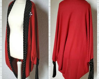 Bat jacket points shrug Cardigan Sweater sleeve poncho jacket poncho red black