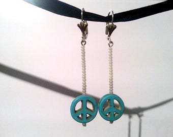 White Glass and Turquoise Peace Sign Earrings #002