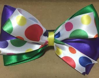 Rainbow Polka Dot Bow