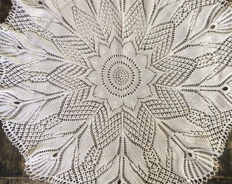 Large Round Knitted Doily For Home Decor 95 cm