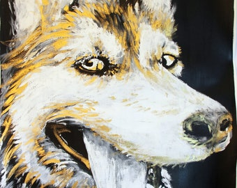 Dog Husky, sold, paint, ink, gouache Wash-off, however,