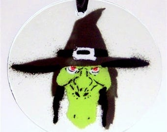 "Sale! Witch Suncatcher Ornament fused glass 4.5"" diameter"