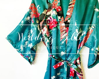 Classic Teal Kimono Robe - Peacock Robe Teal - High Quality Satin Robe - Teal Robe - Soft Satin Robe - Robes Bridesmaids - Party Robes