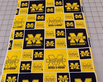 U of M Fabric, 1.5 yards, University of Michigan Fabric, Blue and Gold Fabric, Football, NCAA, Cotton, Fabric by the Yard, Sewing, Quilting