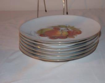 "6 Vintage Bareuther Waldsassen Bavaria Germany Harvest Fruit Salad Plates 7 3/4"""