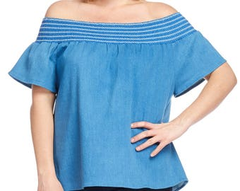 Plus Size Clothing for the Curvy Women Denim Off Shoulder Top (JUNIOR FIT)