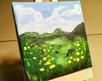 Mini Painting of the Irish Countryside. Original Acrylic paint on canvas