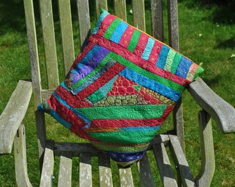 Recycled sari silk cushion