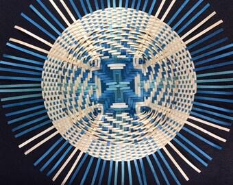 Blue and natural Black Ash Mandala Basket Weaving, hand woven basket, wall art, conversation piece, shadow box wall art