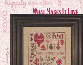 HEART IN HAND - What Makes It Love - Cross Stitch Pattern for Valentines with Hearts and Words - Used Pattern