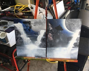 waterfall under moonlight spray paint painting