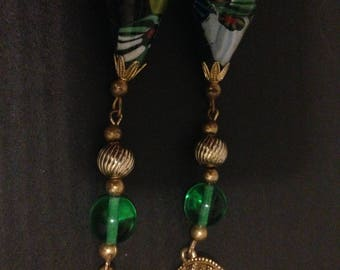 Vintage Green and Gold Tone Pierced Earrings