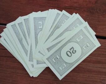 30 Vintage Monopoly Game Piece Part Replacement Twenty Dollar Play Money Lot