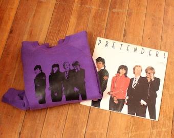purple vintage Pretenders sweatshirt . s/t album with Chrissie Hynde . raglan sleeve sweatshirt . large xl