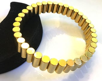 SALE! Mens Gold Bar Sport Magnetic Therapy No-Clasp Bracelet