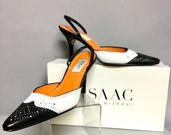 Issac MIZRAHI Spectator High Heels / Vintage 90s Black and White Spectators /Designer High Heel Shoes / size 7