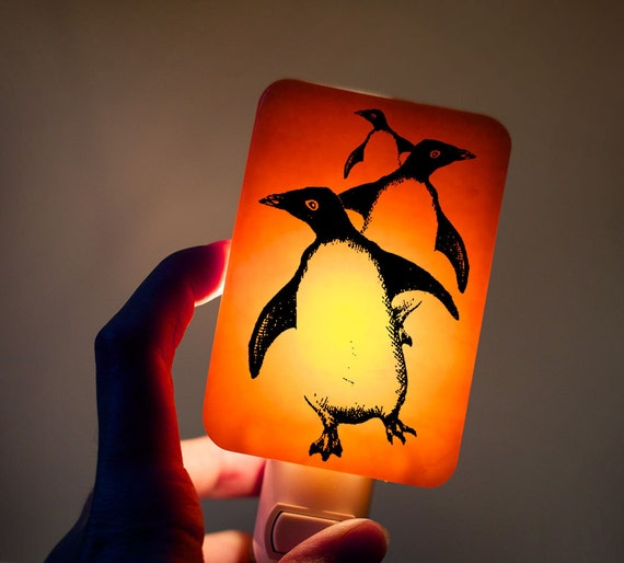 Penguin Nightlight on Tangerine Orange Fused Glass Night Light - Gift for Baby Shower or Nature Lover - Bright Colors Antarctica Wildlife