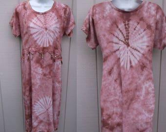 Mauve Tie Dye Dress with Beaded Fringe / Midi Dress FESTIVAL Hippie BOHO Rayon/