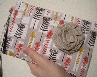 Wedding Clutch 2 pockets,medium,ivory,beige,, wristlet, cotton -- Proteas