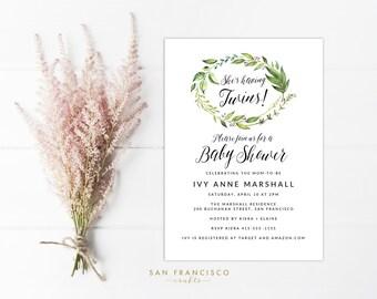 Twin baby shower invitation Etsy