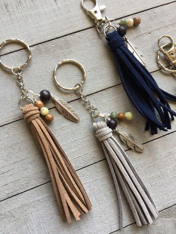 Feather Charm and Mini Tassel Keychain - Choose Your Tassel Color and Hardware -  Purse Tassel Charm, Handbag Charm, Zipper Charm (ST112)