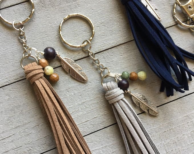 "Featured listing image: Hippie Bag Tassel, Tassel Keychain, Purse Tassel Charm, Handbag Charm, Zipper Charm - 3.5"" Mini Tassel Choose your Color + Feather Charm"