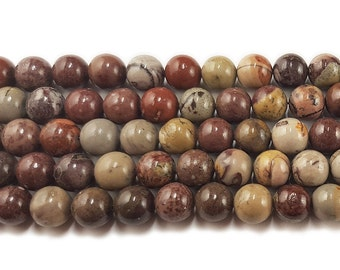 Flower Jasper Round Gemstone Beads