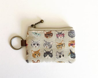 Key/coin purse - Cats and glasses