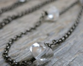 Icebound necklace ... darkened silver / herkimer diamond