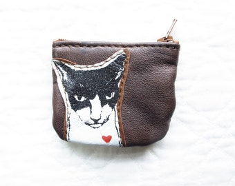 SALE Mean Kitty Coin Purse Leather Recycled
