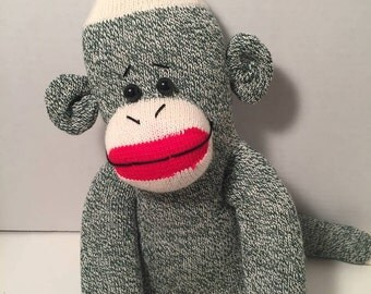 Green Red Heel Sock Monkey - I can change eyes to floss for a bead free option