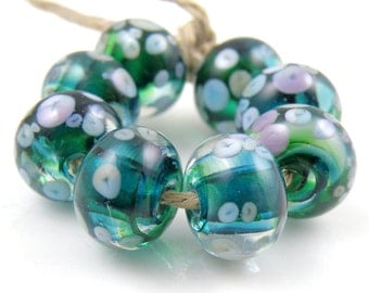 Pixie Ring - Handmade Artisan Lampwork Glass Beads 8mmx12mm - Green, Purple, Pastel - SRA (Set of 8 Beads)