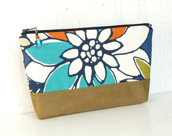 Large Zipper Pouch, Makeup Bag, Fabric Zip Pouch - Bodacious Blossoms in Blue, Orange, Aqua, and Tan