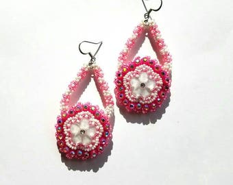 Native American Beaded Earrings Pink Flowers