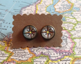 Compass Earrings / Map Jewelry / Atlas Earrings / Vintage Atlas / Gift For Her / Travel / Wanderlust / Stocking Stuffer / Post Earrings