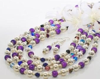 Boho Necklace - Purple and Silver Necklace Set Royal Glow-Purple Magic Bead Necklace - Dark Purple Jewelry