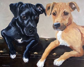"Large Custom Pet Portraits, Oil Painting by me, etsy artist Robin Zebley, Custom Portrait 18"" x 24"" Gift Certificate"